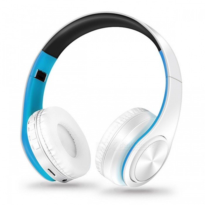 Bluetooth Wireless Stereo Sport Headphone with Mic - White, BlueHeadphones<br>Form  ColorWhite + BlueBrandOthers,N/AMaterialPlasticQuantity1 setConnectionBluetoothBluetooth VersionBluetooth V4.0Operating Range10MConnects Two Phones SimultaneouslyYesHeadphone StyleBilateral,HeadbandWaterproof LevelOthers,N/AApplicable ProductsUniversalHeadphone FeaturesPhone Control,Long Time Standby,Noise-Canceling,Volume Control,With Microphone,Portable,For Sports &amp; ExerciseSupport Memory CardYesMemory Card SlotStandard TF CardSupport Apt-XYesSensitivity84dBFrequency Response20-20000HzImpedance32 ohmBattery TypeLi-ion batteryBuilt-in Battery Capacity 400 mAhStandby Time250 hoursTalk Time10 hoursPacking List1 x Headphone<br>