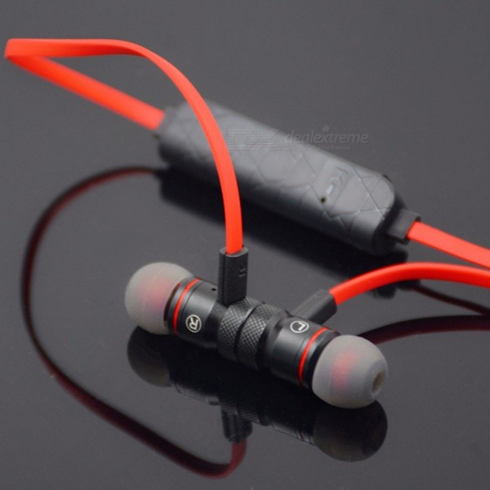 Bluetooth Wireless Sport Running Earphone with Microphone - Black, RedHeadphones<br>Form  ColorBlack + RedBrandOthers,N/AMaterialMetal + PlasticQuantity1 setConnectionBluetoothBluetooth VersionBluetooth V4.0Operating Range10MConnects Two Phones SimultaneouslyYesHeadphone StyleBilateral,Earbud,In-EarWaterproof LevelOthers,SweatproofApplicable ProductsUniversalHeadphone FeaturesPhone Control,Magnetic Adsorption,Noise-Canceling,Volume Control,With Microphone,Lightweight,Portable,For Sports &amp; ExerciseSupport Memory CardNoSupport Apt-XYesSensitivity110±3dBFrequency Response20-24000HzImpedance16 ohmStandby Time80 hoursTalk Time5 hoursMusic Play Time3 hoursPacking List1 x Wireless Buletooth Headset1 x USB Charge Cable1 x Pair Earpieces1 x User Manual<br>