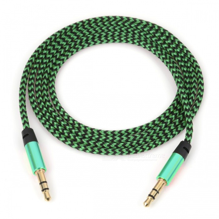 Nylon Braided 3.5mm Jack AUX Audio Cable -Green (1m)Audio And Video Cables<br>Form  ColorGreenMaterialNylon BraidedQuantity1 pieceShade Of ColorGreenCable Length100 cmConnector GenderMale to MaleConnector3.5mmPacking List1 x Audio line<br>