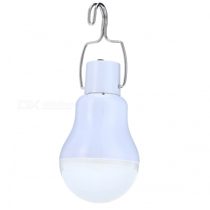 15W 130LM Portable Solar Powered LED Bulb Light LampSolar Lamps<br>Form  ColorWhite + MulticolorMaterialPlastic + Silicon plateQuantity1 DX.PCM.Model.AttributeModel.UnitPower15 DX.PCM.Model.AttributeModel.UnitWorking Voltage   DC-5 DX.PCM.Model.AttributeModel.UnitBattery Capacity850 DX.PCM.Model.AttributeModel.UnitLumens130 DX.PCM.Model.AttributeModel.UnitWorking Time5 DX.PCM.Model.AttributeModel.UnitPacking List1 x Chargeable Bulb1 x 0.8w/5v Solar Panel1 x 3.5Meter Connecting Line<br>