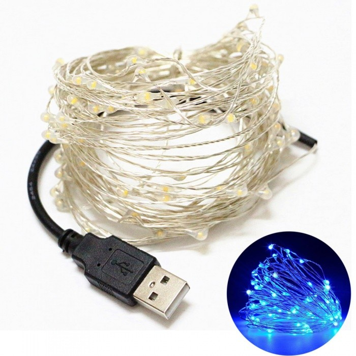 YouOKLight USB 10m Waterproof Blue Light Silver Wire DIY String LightLED String<br>Form  ColorBlack + SilverColor BINBlueModelYK0433-BlueMaterialSilver Copper WireQuantity1 DX.PCM.Model.AttributeModel.UnitPowerOthers,4WRated VoltageOthers,DC 5 DX.PCM.Model.AttributeModel.UnitEmitter TypeLEDTotal Emitters100Wavelength490-450nmTheoretical Lumens300 DX.PCM.Model.AttributeModel.UnitActual Lumens240 DX.PCM.Model.AttributeModel.UnitPower AdapterUSBPacking List1 x USB LED Flexible Strip Lamp<br>