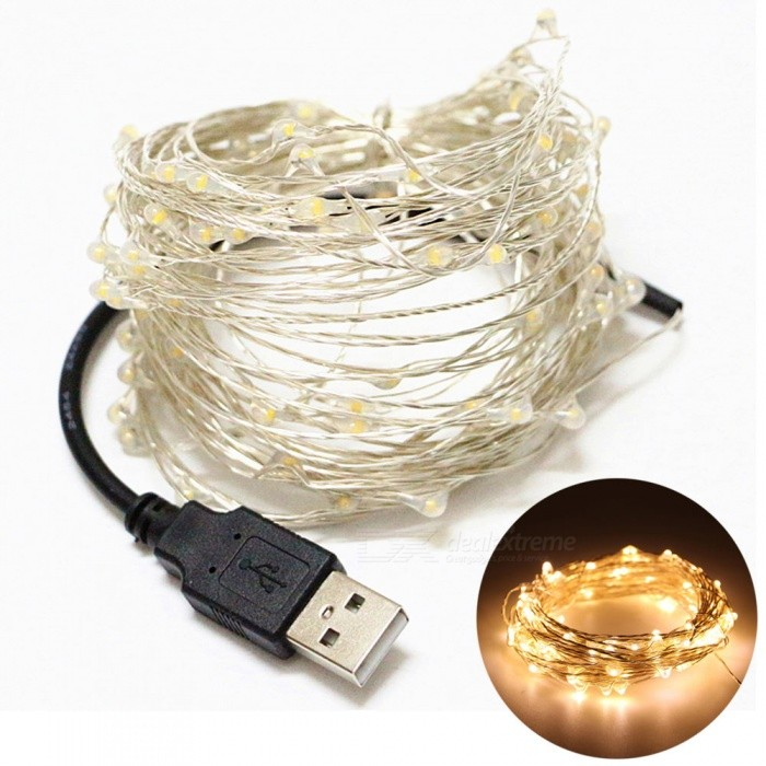 YouOKLight USB 10m Waterproof Warm White Silver Wire DIY String LightLED String<br>Form  ColorBlack + SilverColor BINWarm WhiteModelYK0433-WWMaterialSilver Copper WireQuantity1 DX.PCM.Model.AttributeModel.UnitPowerOthers,4WRated VoltageOthers,DC 5 DX.PCM.Model.AttributeModel.UnitEmitter TypeLEDTotal Emitters100Color Temperature3000KWavelengthN/ATheoretical Lumens300 DX.PCM.Model.AttributeModel.UnitActual Lumens240 DX.PCM.Model.AttributeModel.UnitPower AdapterUSBPacking List1 x USB LED Flexible Strip Lamp<br>