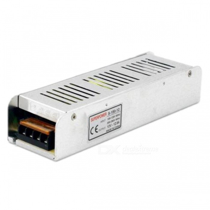 SPO 12V 12.5A 150W LED Long Strip Switching Power SupplySwitching Power Supply<br>Power150WForm  ColorSilverMaterialAluminum alloyQuantity1 DX.PCM.Model.AttributeModel.UnitRated Current12.5 DX.PCM.Model.AttributeModel.UnitRate Voltage12VWorking Temperature-40 ~ +65 DX.PCM.Model.AttributeModel.UnitWorking Humidity20% ~ 90% RH non condensingProtectionOver-load protection,Over-voltage protection,Short protection,Over-temperature protectionCooling MethodNatural cooling,Fan cooling,Aluminum case coolingWater-proofNoCertificationCEPacking List1 x Switching power supply<br>
