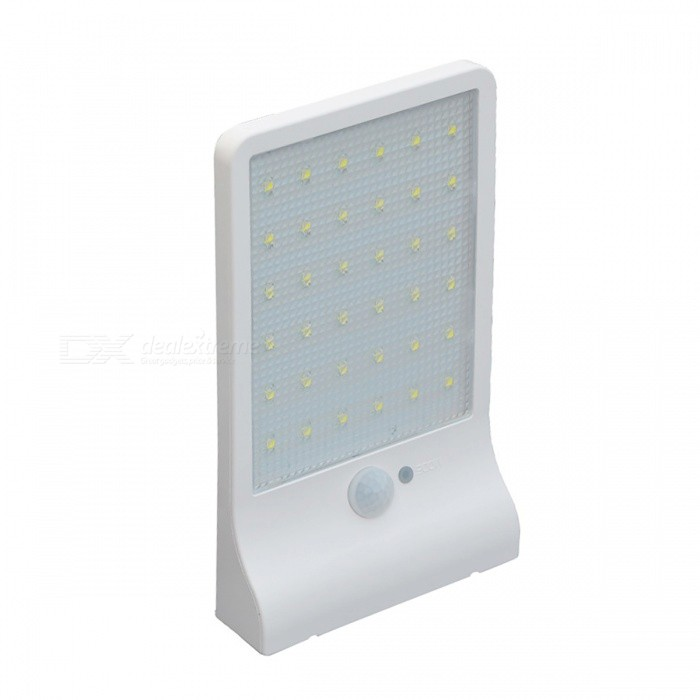 450LM 36-LED Solar Power Street Light, PIR Motion Sensor Lamp - WhiteSolar Lamps<br>Form  ColorWhiteMaterialSolar lampQuantity1 DX.PCM.Model.AttributeModel.UnitWaterproof LevelIP65Emitter TypeLEDPower5.5 DX.PCM.Model.AttributeModel.UnitWorking Voltage   3.7 DX.PCM.Model.AttributeModel.UnitBattery Capacity2000 DX.PCM.Model.AttributeModel.UnitLumens450 DX.PCM.Model.AttributeModel.UnitBattery Charging Time&gt; 6 hrsPacking List1 x Solar Power Light<br>