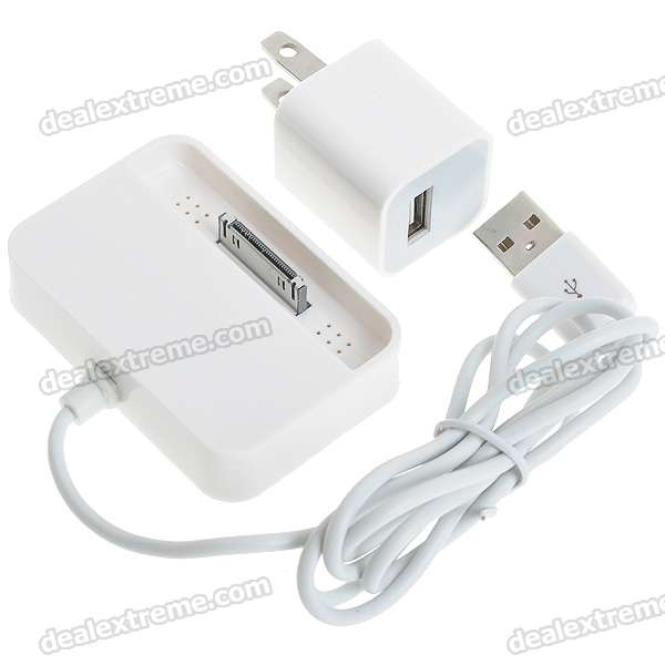 USB Charging Dock Station with Flat Plug for Nano/iPhone 4/Touch - White (80cm/100-240V)