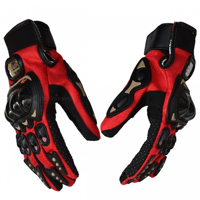 PRO-BIKER MCS01C Unisex Full Finger Motorcycle Gloves - RedMotorcycle Gloves<br>Form  ColorMCS01C - RedSizeLModelMCS01CQuantity1 setMaterialSyn-leather fabric + PVC + Genuine leather + Nylon + PolyesterTypeOthers,N/APacking List1 Pair x Gloves (Left &amp; Right)<br>