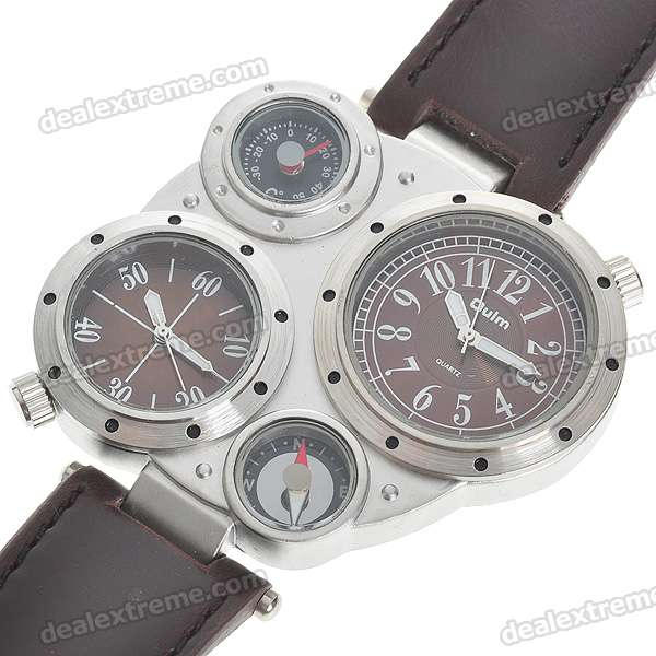 Dual Time Zone Display Wrist Watch with Ornamental Thermometer & Compass - Brown + Silver (2*377)