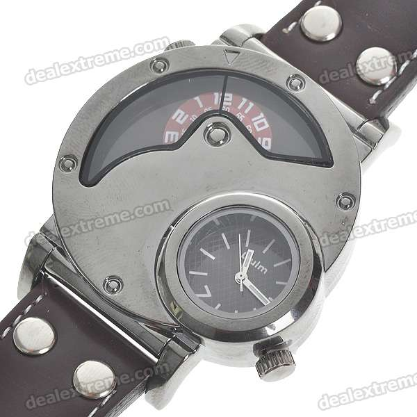 Dual Time Zone Display Wrist Watch - Brown + Silver (2*377)