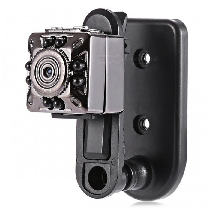 KELIMA SQ10 HD Mini Hidden 8-LED IR Night Vision Camera Car DVRCamcorders<br>Form  ColorBlackModelSQ10Shade Of ColorBlackMaterialABSQuantity1 DX.PCM.Model.AttributeModel.UnitImage SensorCMOSAnti-ShakeNoFocal Distance6 DX.PCM.Model.AttributeModel.UnitFocusing Range6Wide Angle140ApertureF2.0Effective Pixels1080P, 720PPicture FormatsOthers,JPGStill Image Resolution12M(4032*3024)Video FormatAVIVideo Resolution(1920 x 1080) (1280 x 720)Video Frame Rate30Cycle RecordNoISONoExposure CompensationNoSupports Card TypeTFSupports Max. Capacity32 DX.PCM.Model.AttributeModel.UnitOutput InterfaceOthers,USB2.0LCD ScreenNoBattery included or notYesBattery Measured Capacity 200 DX.PCM.Model.AttributeModel.UnitNominal Capacity200 DX.PCM.Model.AttributeModel.UnitBattery TypeLi-polymer batteryWaterproofNoOther FeaturesFeatures:<br>All metal shell<br>In low light, can be high-definition video recording<br>High quality images, HD FULL HD 1080P DV DC<br>Video format: 1280 ? 720 p<br>Video format: 1920 ? 1080 p<br>Photo mode: 12M (4023 ? 3024)<br>USB2.0 high-speed interface transmission<br>Can withstand the maximum 32G T-FLASH card<br>A TV monitor that supports TV output video<br>The cameras built-in lithium battery lasts longer than 100 minutes<br>Support system: Windows Me / 2000 / XP / 2003 Apple iOS / view; Linux;<br>Battery capacity: 200 mAh<br>Working hours: 100 minutes nearby<br>Mini USB Interface Type: 8 pinPacking List1 x Mini Car DVR Camera1 x USB / TV Out 2-in-1 Cable1 x Bracket1 x User Manual in Chinese and English<br>