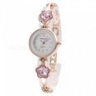 Fashionable Square Crystal Dial Analog Quartz Wrist Watch for Women - Golden + Pink