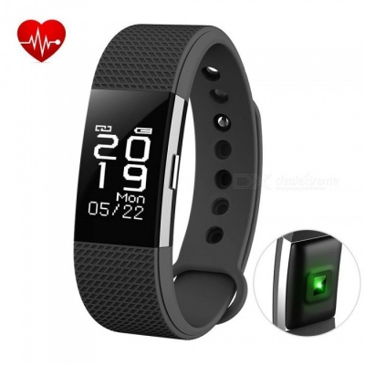 F2 Smart Bracelet with Fitness Tracker, Heart Rate Monitor - Black