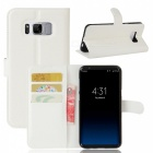 Litchi Pattern PU Wallet Case with Stand for Samsung S8 - White