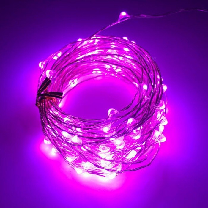SZFC 10m 100-LED Vattentät Silver Wire Pink LED String Light