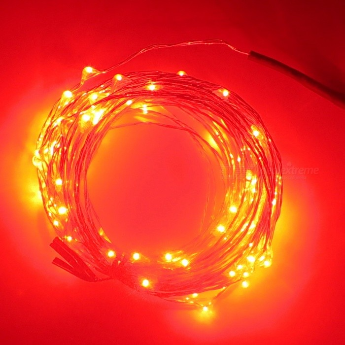 SZFC 10m 100-LED Waterproof Silver Wire Red LED String LightOther SMD Strips<br>Form  ColorSilver + Black + Multi-ColoredColor BINRedModelDC-12V+RMaterialCopperQuantity1 DX.PCM.Model.AttributeModel.UnitPower10WRated VoltageDC 12 DX.PCM.Model.AttributeModel.UnitEmitter TypeLEDTotal Emitters100WavelengthRed: 630-655nmTheoretical Lumens1000 DX.PCM.Model.AttributeModel.UnitActual Lumens10-900 DX.PCM.Model.AttributeModel.UnitPower AdapterUS PlugPacking List1 x LED twinkle light 1 x US plug power adapter<br>