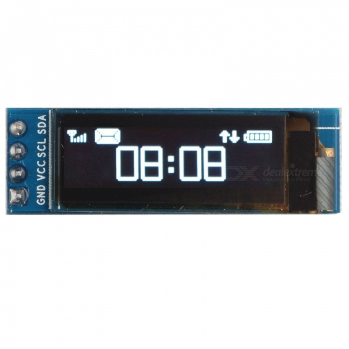 Hengjiaan 0.91 White I2C IIC OLED Serial 128x32 LCD Display ModuleLCD, LED Display Module<br>Form  ColorBlueModelN/AQuantity1 DX.PCM.Model.AttributeModel.UnitMaterialOLEDScreen TypeOLEDScreen Size0.91 DX.PCM.Model.AttributeModel.UnitResolutionOthers,128 x 32Working Voltage   3.3~5 DX.PCM.Model.AttributeModel.UnitEnglish Manual / SpecYesDownload Link   NoPacking List1 x HALJIA 0.91 IIC I2C White OLED LCD Display Module<br>
