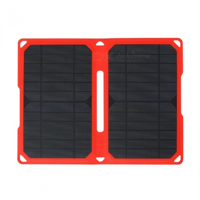 High Efficiency 14W 5V 2.8A Dual USB Output ETFE Folding Solar ChargerSolar Powered Gadgets<br>Form  ColorRed+BlackModelSW-E14MaterialMonocrystalline silicon + intergrated ETFE laminationQuantity1 setPower14 WWorking Voltage   5 VWorking Current2.8 AConnectorDaul USBCertificationTransformation efficiency: 20%Packing List1 * 10W solar charger2 * Hooks<br>