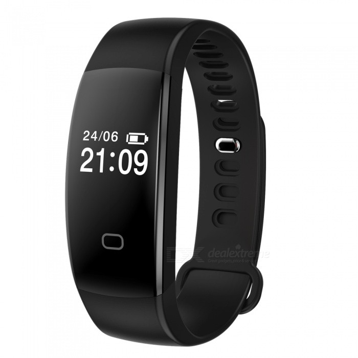 """F08 0.49"""" Smart Bluetooth Bracelet with Heart Rate Monitor - Black"""