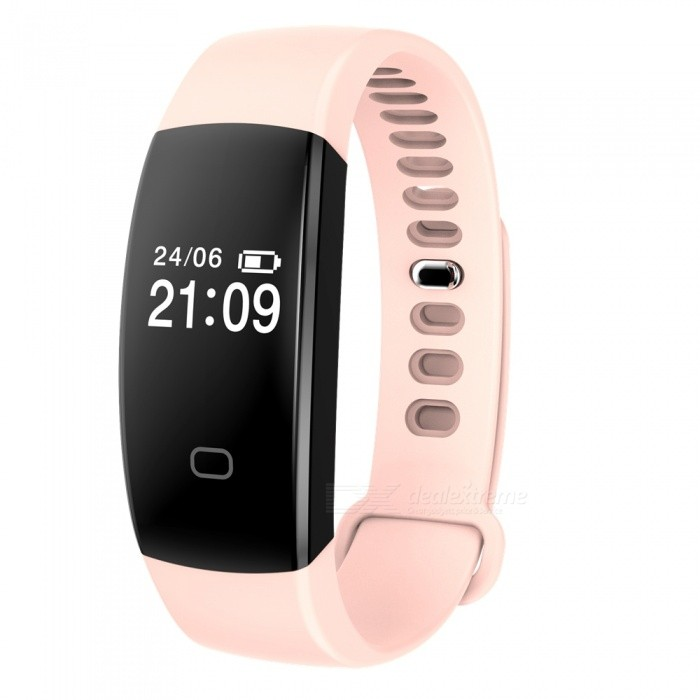 "F08 0.49"" Smart Bluetooth Bracelet with Heart Rate Monitor - Pink"