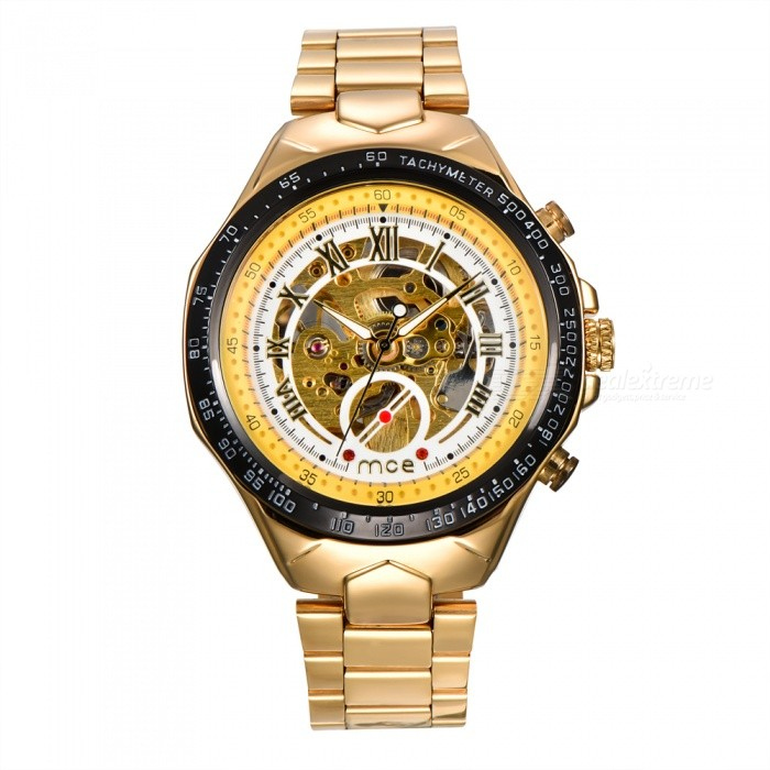 MCE 01-0060275 Mechanical Watch Hollow Out Wristwatch - Golden + WhiteMechanical Watches<br>Form  ColorGolden + WhiteModel01-0060275Quantity1 DX.PCM.Model.AttributeModel.UnitShade Of ColorGoldCasing MaterialAlloyWristband MaterialSteelSuitable forAdultsGenderUnisexStyleWrist WatchTypeFashion watchesDisplayAnalogBacklightnoMovementMechanicalDisplay Format12 hour formatWater ResistantFor daily wear. Suitable for everyday use. Wearable while water is being splashed but not under any pressure.Dial Diameter4.4 DX.PCM.Model.AttributeModel.UnitDial Thickness1.4 DX.PCM.Model.AttributeModel.UnitWristband Length16 DX.PCM.Model.AttributeModel.UnitBand Width2 DX.PCM.Model.AttributeModel.UnitBatterynoPacking List1 x Watch1 x Box<br>