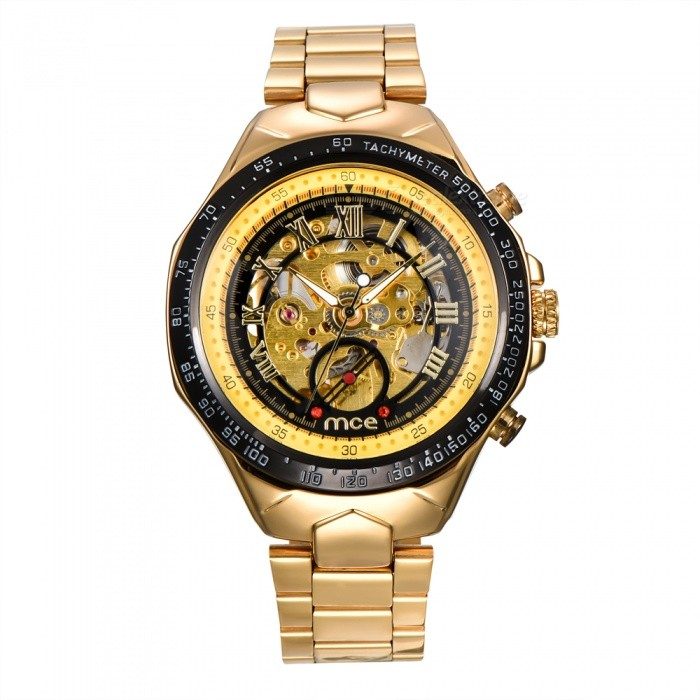 MCE Mechanical Watch Hollow Out Wristwatch - GoldenMechanical Watches<br>Form  ColorGolden + BlackModel01-0060275Quantity1 setShade Of ColorGoldCasing MaterialAlloyWristband MaterialSteelSuitable forAdultsGenderUnisexStyleWrist WatchTypeFashion watchesDisplayAnalogBacklightnoMovementMechanicalDisplay Format12 hour formatWater ResistantFor daily wear. Suitable for everyday use. Wearable while water is being splashed but not under any pressure.Dial Diameter4.4 cmDial Thickness1.4 cmWristband Length16 cmBand Width2 cmBatterynoPacking List1 x Watch1 x Box<br>