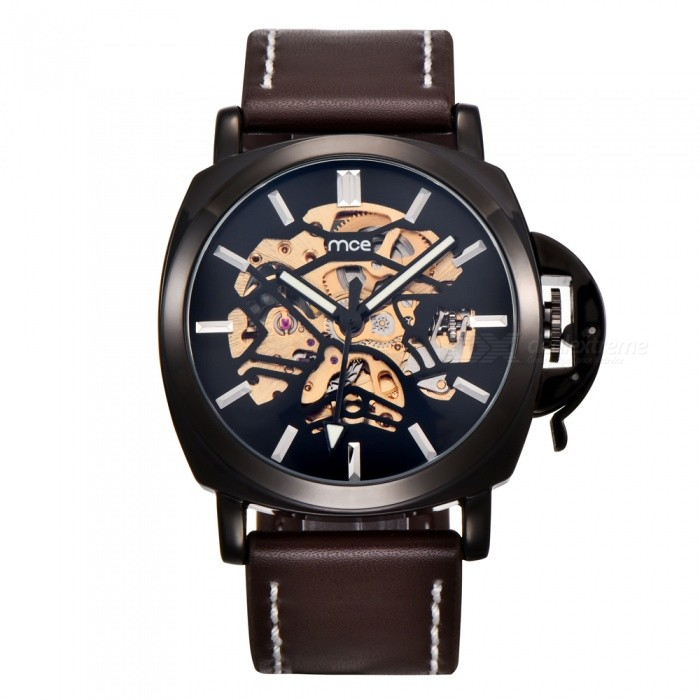 MCE 01-0060498 Mens Leather Automatic Mechanical Watch - BlackMechanical Watches<br>Form  ColorBlackModel01-0060498Quantity1 setShade Of ColorBlackCasing MaterialAlloyWristband MaterialGenuine leatherSuitable forAdultsGenderUnisexStyleWrist WatchTypeFashion watchesDisplayAnalogBacklightgreenMovementMechanicalDisplay Format12 hour formatWater ResistantFor daily wear. Suitable for everyday use. Wearable while water is being splashed but not under any pressure.Dial Diameter4.4 cmDial Thickness1.5 cmWristband Length23 cmBand Width2.4 cmBatterynoPacking List1 x Watch1 x Box<br>