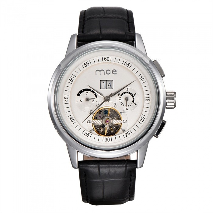 MCE 01-0060167 Leather Tourbillon Mechanical Watch - Silver WhiteMechanical Watches<br>Form  ColorSilver WhiteModel01-0060167Quantity1 setShade Of ColorSilverCasing MaterialAlloyWristband MaterialGenuine leatherSuitable forAdultsGenderUnisexStyleWrist WatchTypeFashion watchesDisplayAnalogBacklightnoMovementMechanicalDisplay Format12 hour formatWater ResistantFor daily wear. Suitable for everyday use. Wearable while water is being splashed but not under any pressure.Dial Diameter4.4 cmDial Thickness1.5 cmWristband Length23 cmBand Width2.2 cmBatterynoPacking List1 x Watch1 x Box<br>