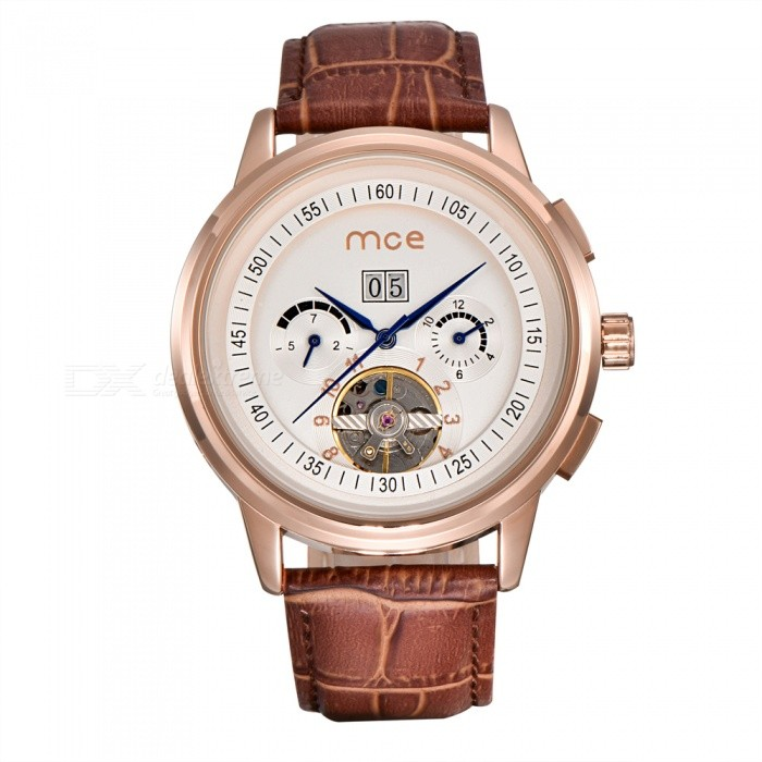 MCE 01-0060167 Leather Tourbillon Mechanical Watch - Golden + BrownMechanical Watches<br>Form  ColorBrown + WhiteModel01-0060167Quantity1 DX.PCM.Model.AttributeModel.UnitShade Of ColorBrownCasing MaterialAlloyWristband MaterialGenuine leatherSuitable forAdultsGenderUnisexStyleWrist WatchTypeFashion watchesDisplayAnalogBacklightnoMovementMechanicalDisplay Format12 hour formatWater ResistantFor daily wear. Suitable for everyday use. Wearable while water is being splashed but not under any pressure.Dial Diameter4.4 DX.PCM.Model.AttributeModel.UnitDial Thickness1.5 DX.PCM.Model.AttributeModel.UnitWristband Length23 DX.PCM.Model.AttributeModel.UnitBand Width2.2 DX.PCM.Model.AttributeModel.UnitBatterynoPacking List1 x Watch1 x Box<br>