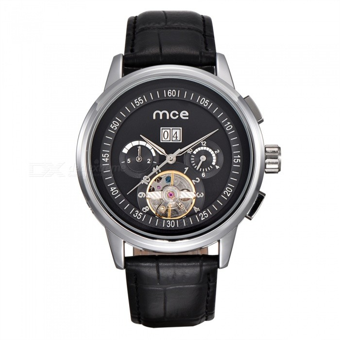 MCE 01-0060167 Leather Tourbillon Mechanical Watch - Silver + BlackMechanical Watches<br>Form  ColorSilver BlackModel01-0060167Quantity1 setShade Of ColorSilverCasing MaterialAlloyWristband MaterialGenuine leatherSuitable forAdultsGenderUnisexStyleWrist WatchTypeFashion watchesDisplayAnalogBacklightnoMovementMechanicalDisplay Format12 hour formatWater ResistantFor daily wear. Suitable for everyday use. Wearable while water is being splashed but not under any pressure.Dial Diameter4.4 cmDial Thickness1.5 cmWristband Length23 cmBand Width2.2 cmBatterynoPacking List1 x Watch1 x Box<br>