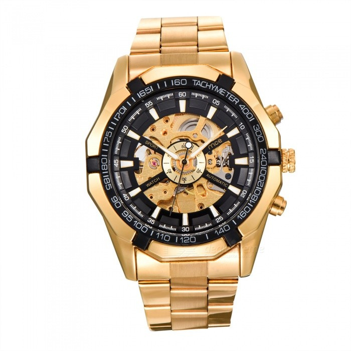 MCE 01-0060273 Mens Automatic Mechanical Watch - Black + GoldenMechanical Watches<br>Form  ColorGolden + BlackModel01-0060273Quantity1 setShade Of ColorGoldCasing MaterialAlloyWristband MaterialSteelSuitable forAdultsGenderUnisexStyleWrist WatchTypeFashion watchesDisplayAnalogBacklightnoMovementMechanicalDisplay Format12 hour formatWater ResistantFor daily wear. Suitable for everyday use. Wearable while water is being splashed but not under any pressure.Dial Diameter4.4 cmDial Thickness1.5 cmWristband Length16 cmBand Width2.4 cmBatterynoPacking List1 x Watch1 x Box<br>