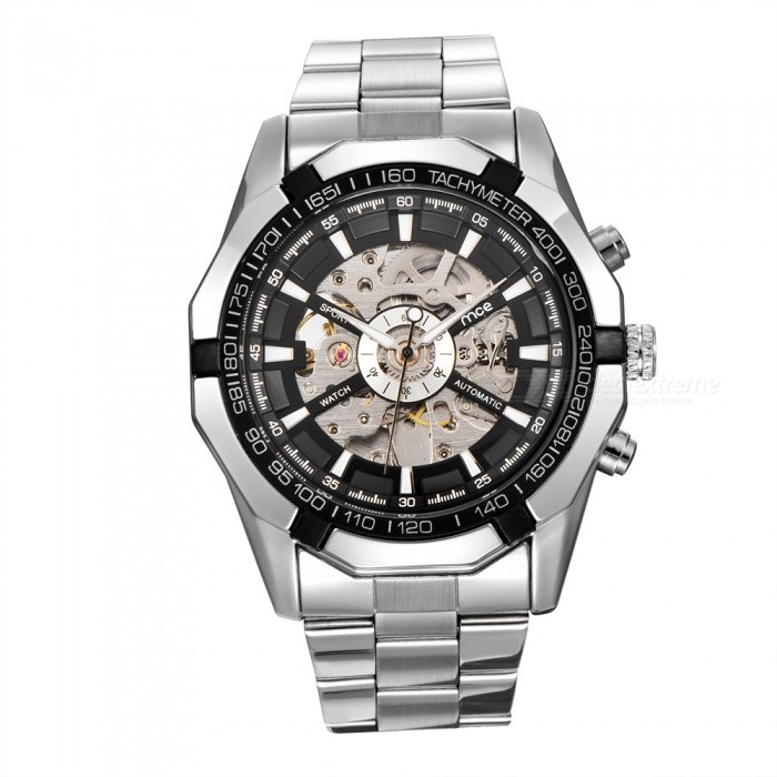 MCE 01-0060273 Mens Automatic Mechanical Watch - Silver + BlackMechanical Watches<br>Form  ColorSilver BlackModel01-0060273Quantity1 DX.PCM.Model.AttributeModel.UnitShade Of ColorSilverCasing MaterialAlloyWristband MaterialSteelSuitable forAdultsGenderUnisexStyleWrist WatchTypeFashion watchesDisplayAnalogBacklightnoMovementMechanicalDisplay Format12 hour formatWater ResistantFor daily wear. Suitable for everyday use. Wearable while water is being splashed but not under any pressure.Dial Diameter4.4 DX.PCM.Model.AttributeModel.UnitDial Thickness1.5 DX.PCM.Model.AttributeModel.UnitWristband Length16 DX.PCM.Model.AttributeModel.UnitBand Width2.4 DX.PCM.Model.AttributeModel.UnitBatterynoPacking List1 x Watch1 x Box<br>