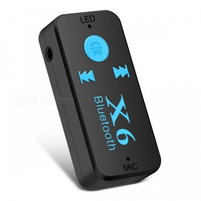 X6 Car Bluetooth Music Receiver MP3 Player w/ TF Card Slot - BlackOther Bluetooth Devices<br>Form  ColorBlackModelX6MaterialABSQuantity1 DX.PCM.Model.AttributeModel.UnitShade Of ColorBlackBluetooth VersionOthers,Bluetooth V4.1Operating Range10MStandby Time8 DX.PCM.Model.AttributeModel.UnitPower AdapterUSBPower Supply5VOther Features1. Bluetooth 4.1 + EDR, transmission distance 10m<br>2. Support Bluetooth handsfree call function<br>3. Support Bluetooth A2DP stereo<br>4. Support TF card playback function<br>5. Frequency: 2.4GHz<br>6. 3.5mm stereo input jack<br>7. sleep mode, energy saving<br>8. Power: Use the mini USB cable to charge<br>9. Working hours: up to 8 hours<br>1: up and down, volume addition and subtraction, pause / play, then hang up.<br>2: support TF card playback.<br>3: support card reader function.Packing List1 x Bluetooth receiver1 x Audio conversion head1 x USB data cable1 x Manual<br>