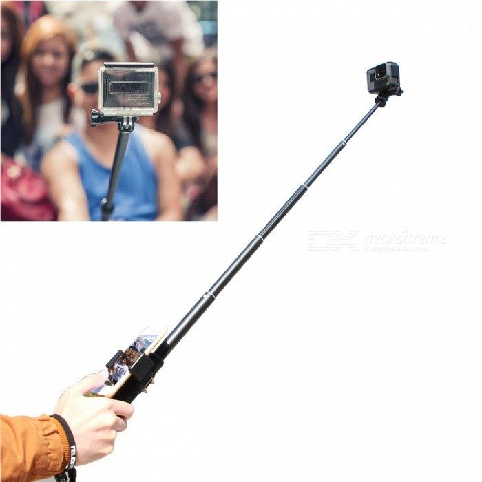 TELESIN Extendable Selfie Stick with Phone Clip for GoProMounting Accessories<br>Form  ColorBlack + Blue + Multi-ColoredModelPR-MNP-090Quantity1 setMaterialAluminumShade Of ColorBlackCompatible ModelsOthers,GoPro Hero 1,GoPro Hero 2,GoPro Hero 3,GoPro Hero 3+,GoPro Hero 4,GoPro Hero 4 Session,Gopro hero 5 / Xiaoyi / Sjcam Sports CamerasRetractableYesFull Size 90 cmFolded Size20 cmMax.Height90 cmMin.Height20 cmMax.Load1000 gPacking List1 x Wrist Strap1 x Selfie Stick1 x Thumbscrew1 x Phone Clip (for phone size of 4inch to 5.5inch max)1 x 3-way Monopod Tripod 1 x Mount Adapter<br>