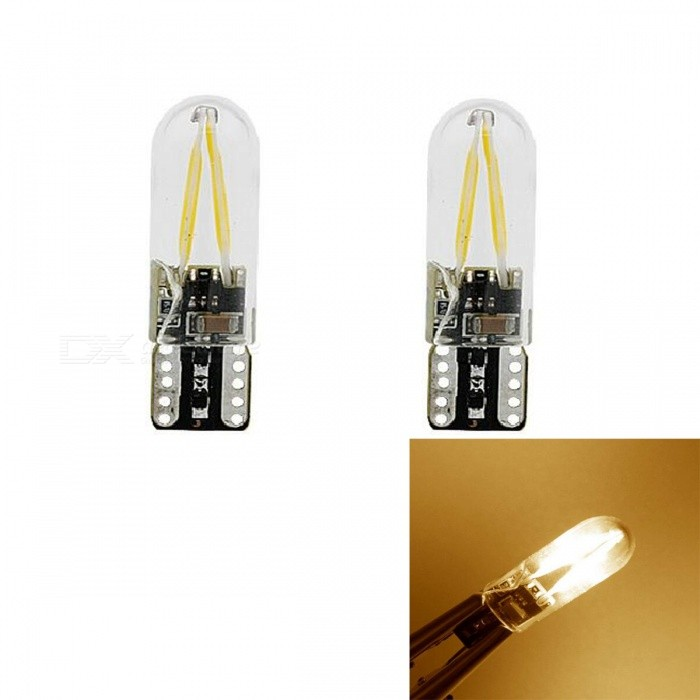 JRLED T10 2W Warm White Light COB LED Indicator Lamps (2 PCS)Signal Lights<br>Color BINWarm WhiteModelJRLED-T10-LEDQuantity2 DX.PCM.Model.AttributeModel.UnitMaterialGlass + LEDForm  ColorBlack + TransparentEmitter TypeCOBChip BrandOthers,BDO arrived 820Chip Type820Total Emitters2Power2WColor Temperature3000 DX.PCM.Model.AttributeModel.UnitWavelengthN/A DX.PCM.Model.AttributeModel.UnitTheoretical Lumens230 DX.PCM.Model.AttributeModel.UnitActual Lumens200 DX.PCM.Model.AttributeModel.UnitRate VoltageDC8-26VWaterproof FunctionNoConnector TypeT10Other FeaturesThis product uses the BDO arrived 820, the flip chip, with high brightness, high temperature characteristics, high penetration of the lampshade is made of glassIts a perfect choice for a car wide indicatorApplicationIndicator lampCertificationCE ROHSPacking List2 x T10 LED Lamps<br>