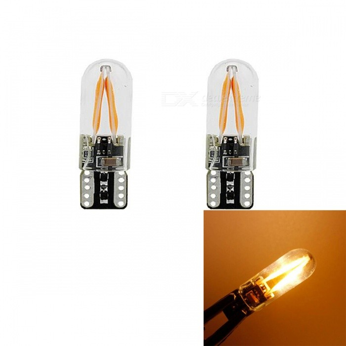 JRLED T10 2W Yellow Light COB LED Indicator Lamps (2 PCS)