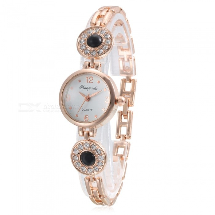 Chaoyada 1119 Rhinestone Bracelet Womens Elegant Quartz WatchWomens Bracelet Watches<br>Form  ColorGolden + BlackModel1119Quantity1 setShade Of ColorGoldCasing MaterialElectroplating steelWristband MaterialElectroplating steelSuitable forAdultsGenderWomenStyleWrist WatchTypeFashion watchesDisplayAnalogDisplay Format12 hour formatMovementQuartzWater ResistantFor daily wear. Suitable for everyday use. Wearable while water is being splashed but not under any pressure.Dial Diameter2.4 cmDial Thickness0.8 cmBand Width0.7 cmWristband Length20 cmBattery1 x LR626 battery (included)Packing List1 x Watch<br>