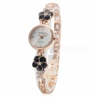 Fashionable Square Crystal Dial Analog Quartz Wrist Watch for Women - Golden + Black