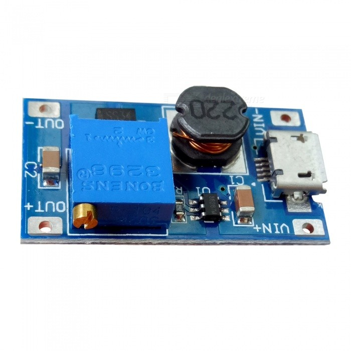 DC-DC 2A Adjustable Boost Module Micro USB DC Circuit BoardPower Module<br>Form  ColorBlue + Black + Multi-ColoredModelXY-016Quantity1 setMaterialPCE-AInput Voltage2V~24 VMax. Output Current2 AConversion Efficiency93%Download Link   ONPacking List1 x Boost module<br>