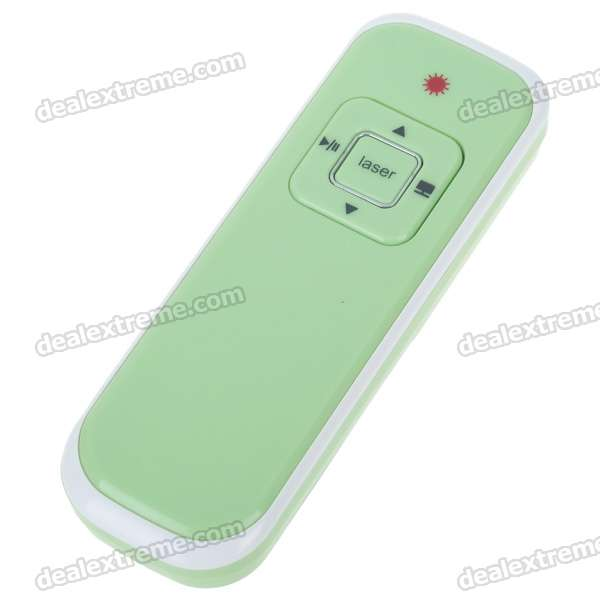 RF433MHz Wireless USB Presenter with Red Laser Pointer - Green + Black (2*AAA)
