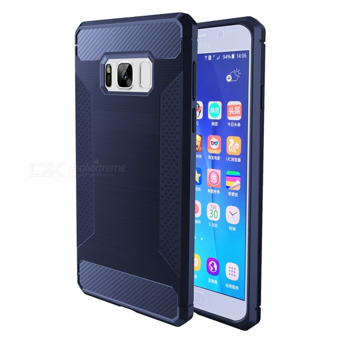 Carbon Fiber TPU Protective Case for Samsung Galaxy S8 - Ming BlueTPU Cases<br>Form  ColorNavyModelS8-CQuantity1 DX.PCM.Model.AttributeModel.UnitMaterialTPUShade Of ColorCyanCompatible ModelsSamsung Galaxy S8DesignSolid ColorStyleBack CasesPacking List1 x Case<br>
