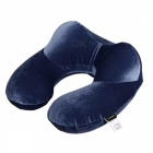 U-Shape Inflatable Travel Neck Pillow for Airplane - Dark Blue