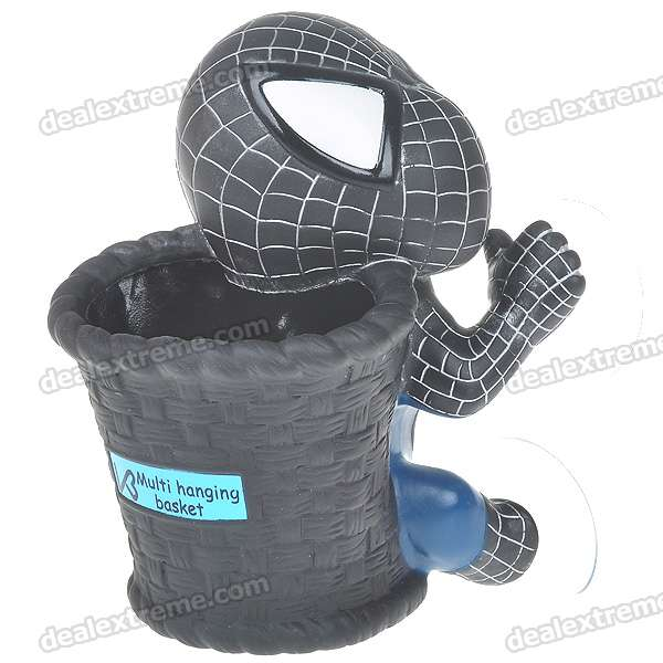 Cute Spider-Man Cartoon Figure Hanging Basket with Suction Cups - Black