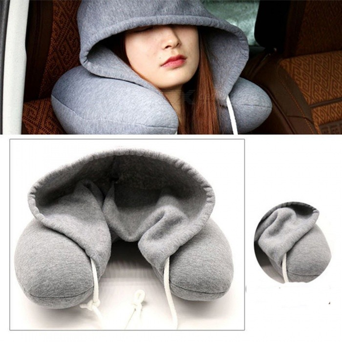U-shape Travel Neck Pillow with Cap - Grey