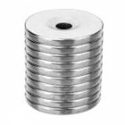 JEDX Strong Round Hole NdFeB Magnets - Silver (10 PCS / 20 x 3mm)