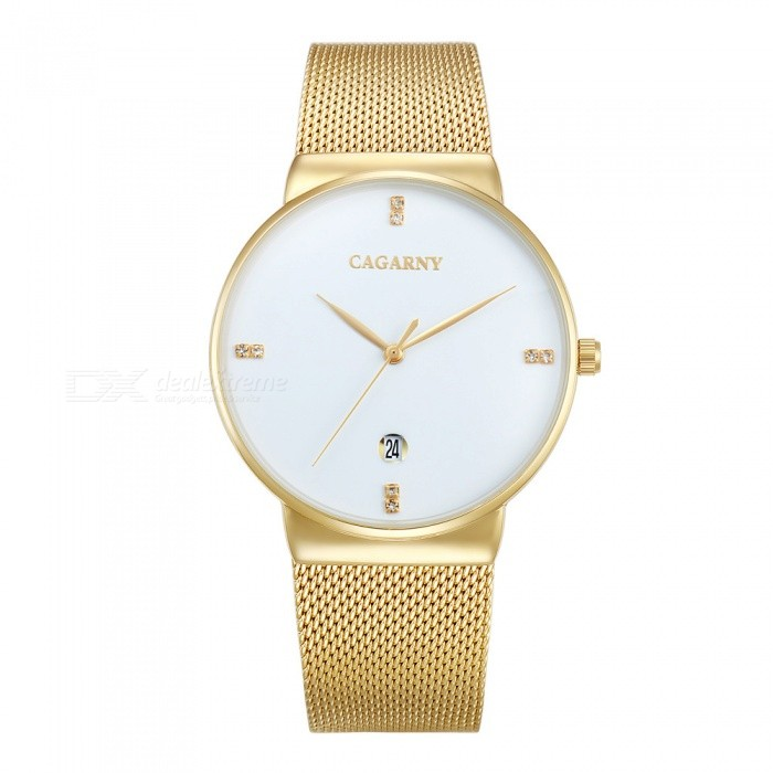 CAGARNY 6817 Fashion Ultra Thin Mens Quartz Watch - White, GoldenQuartz Watches<br>Form  ColorWhite + Golden + Multi-ColoredModel6817Quantity1 DX.PCM.Model.AttributeModel.UnitShade Of ColorWhiteCasing MaterialAlloy + IP platedWristband MaterialStainless steelSuitable forAdultsGenderMenStyleWrist WatchTypeFashion watchesDisplayAnalogBacklightNoMovementQuartzDisplay Format12 hour formatWater ResistantFor daily wear. Suitable for everyday use. Wearable while water is being splashed but not under any pressure.Dial Diameter4 DX.PCM.Model.AttributeModel.UnitDial Thickness0.8 DX.PCM.Model.AttributeModel.UnitWristband Length24.5 DX.PCM.Model.AttributeModel.UnitBand Width2.2 DX.PCM.Model.AttributeModel.UnitBatterysr626sw/1pcPacking List1 x Watch<br>