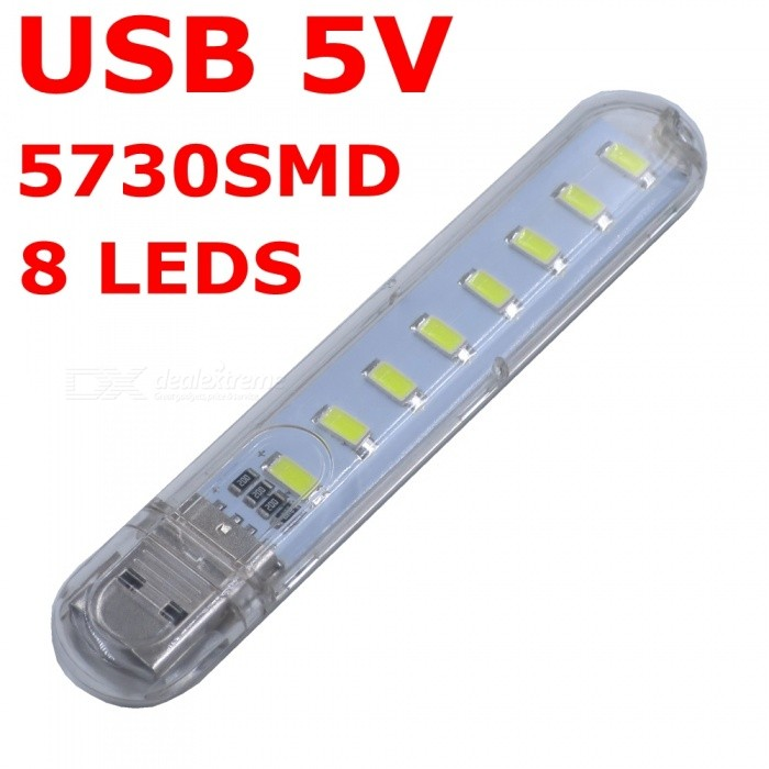 SZFC USB 5V 5730 SMD 8-LED Transparent Shell Cold White Light Lamp