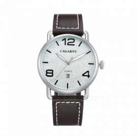 CAGARNY Casual Style Men's Quartz Watch Leather Strap - Black
