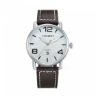 CAGARNY Casual Style Men Quartz Watch Leather Strap - White + Brown