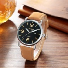 CAGARNY Casual Style Men Quartz Watch Leather strap - Black + Brown