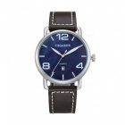 CAGARNY Casual Style Men Quartz Watch Leather Strap - Blue + Brown