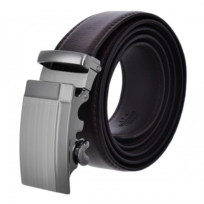 Mens Automatic Buckle Leather Belt - Brown (120cm)Belts and Buckles<br>Form  ColorBrownQuantity1 DX.PCM.Model.AttributeModel.UnitShade Of ColorBrownMaterialTwo ply cowhideGenderMenSuitable forAdultsBelt Length120 DX.PCM.Model.AttributeModel.UnitBelt Width3.5 DX.PCM.Model.AttributeModel.UnitPacking List1 x Mens belt<br>